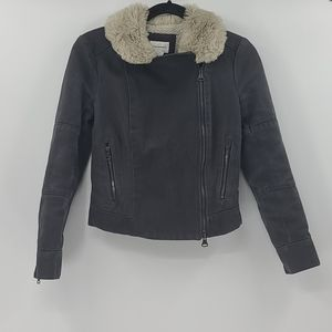 Club monaco bomber jacket with faux fur collar